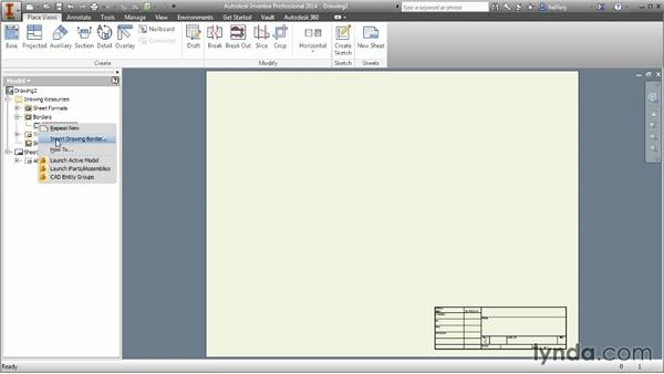 Exploring initial drawing creation: Inventor 2014 Essential Training