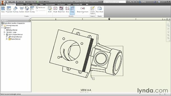 Creating auxiliary and cropped views: Inventor 2014 Essential Training
