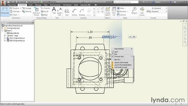 Creating general dimensions: Inventor 2014 Essential Training