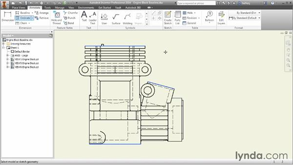 Creating baseline, ordinate, and chain dimensions: Inventor 2014 Essential Training