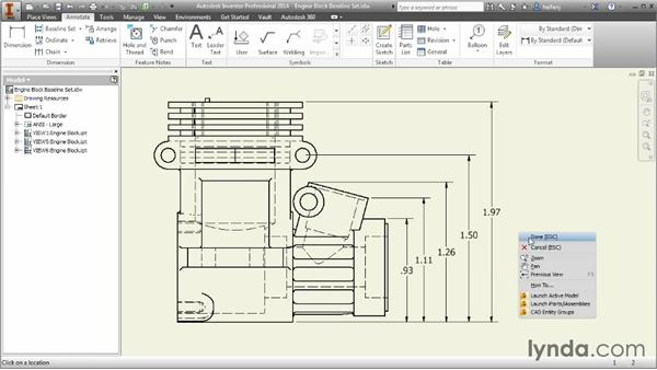 Creating baseline, ordinate, and chain dimension sets: Inventor 2014 Essential Training