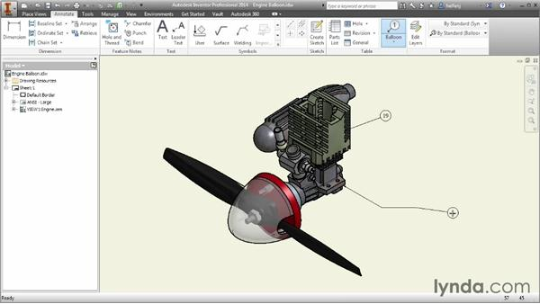Creating individual balloons: Inventor 2014 Essential Training
