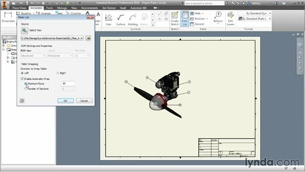 Adding a parts list to the drawing: Inventor 2014 Essential Training