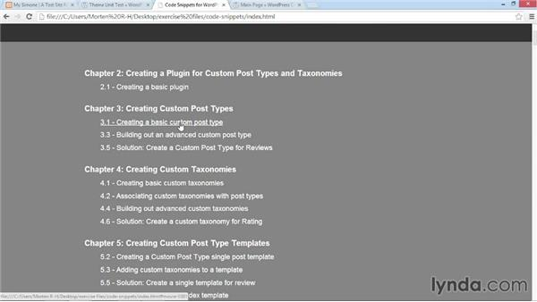 Assets and exercise files: WordPress: Custom Post Types and Taxonomies