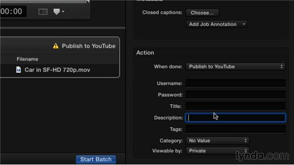 Publishing using the YouTube preset: Compressor 4.1 Essential Training