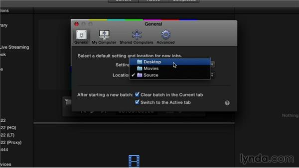 Adjusting the preferences for a default setting and location: Compressor 4.1 Essential Training