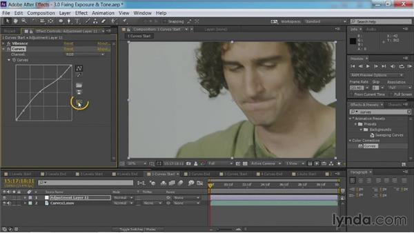 Fixing exposure and tone with curves: After Effects Guru: Color Grading Footage