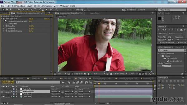 The use of auto adjustments to fix exposure and tone: After Effects Guru: Color Grading Footage