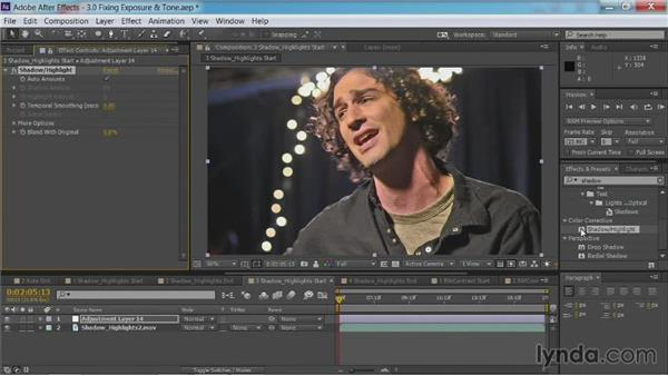 The Shadow/Highlights command: After Effects Guru: Color Grading Footage