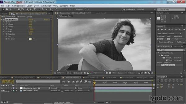 Using the Black & White effect for contrast: After Effects Guru: Color Grading Footage