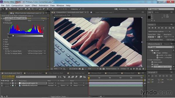 Fixing color casts with individual levels: After Effects Guru: Color Grading Footage