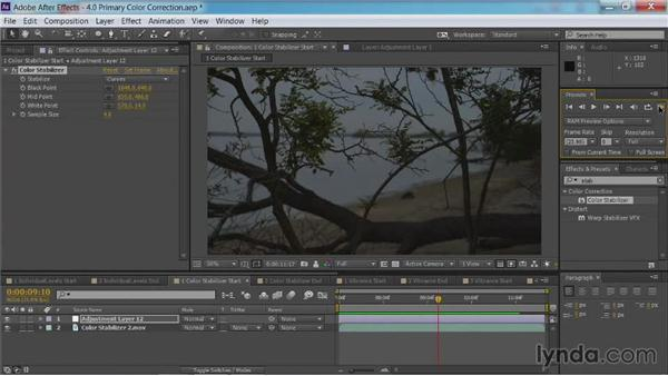 Using the Color Stabilizer effect: After Effects Guru: Color Grading Footage