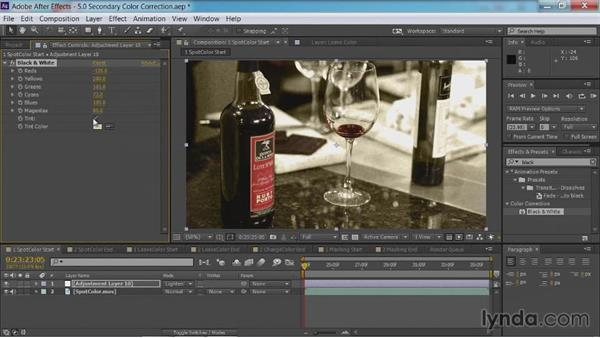 Creating spot colors with the Black & White effect: After Effects Guru: Color Grading Footage