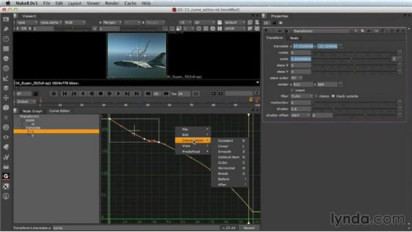 Editing animation curves: Nuke Essential Training