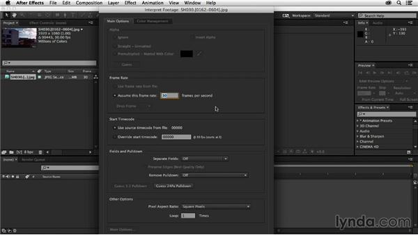 Importing footage and project settings: Creating a Show Open in After Effects and CINEMA 4D