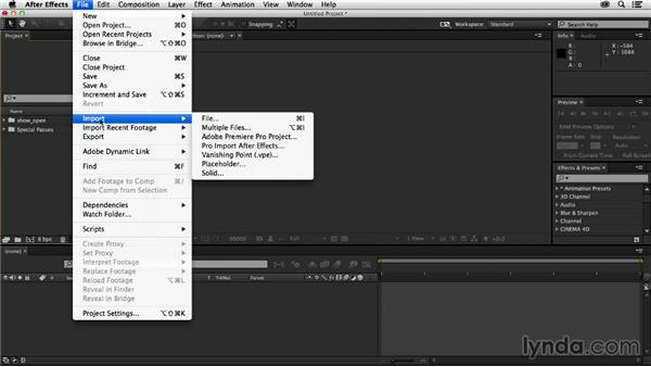 Importing our render passes into After Effects from CINEMA 4D