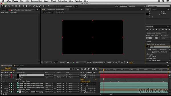 Adding flares and other optical elements: Creating a Show Open in After Effects and CINEMA 4D