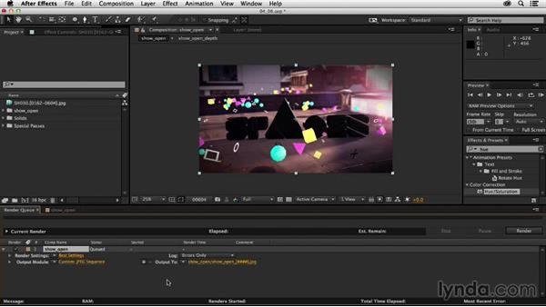 Exporting the final shot: Creating a Show Open in After Effects and CINEMA 4D