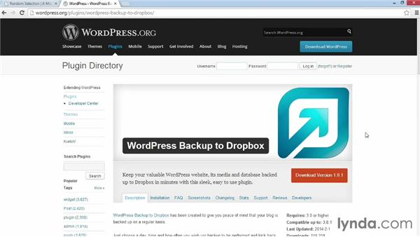 Installing and activating Backup to Dropbox: WordPress Plugins: Backing Up Your Site