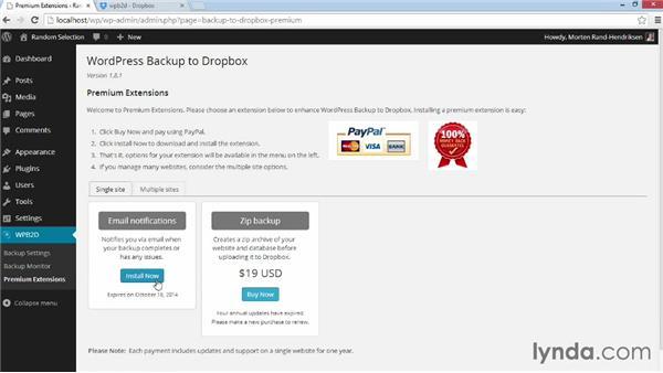 Extending WordPress Backup to Dropbox: WordPress Plugins: Backing Up Your Site