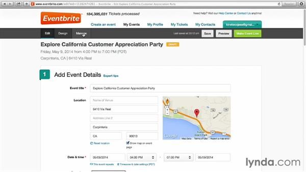 Editing and managing event details: Up and Running with Eventbrite