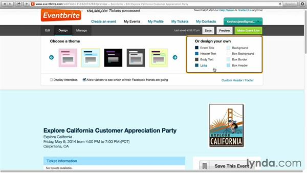 Setting a design theme for your event page: Up and Running with Eventbrite