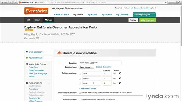 Customizing ticket-order options: Up and Running with Eventbrite