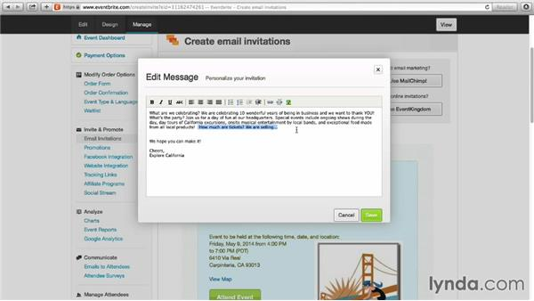 Sending email invitations from Eventbrite: Up and Running with Eventbrite