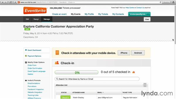Checking in attendees at the event: Up and Running with Eventbrite