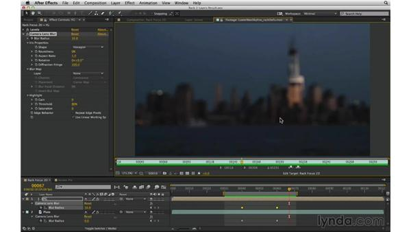 Create a simple rack focus between two layers with Camera Lens Blur: After Effects Compositing 02: Matching Foreground to Background