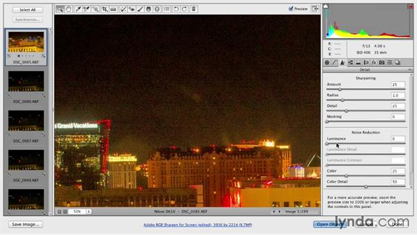 Adjusting the nighttime RAW file: Shooting a Time-Lapse Movie from a Window