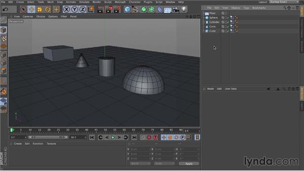 Basic interface: Dynamics in CINEMA 4D