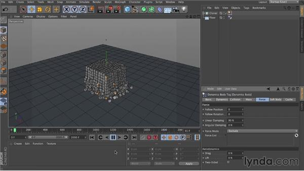 Linear and angular damping: Dynamics in CINEMA 4D