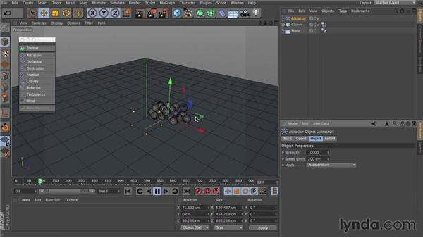 Particle forces: Dynamics in CINEMA 4D