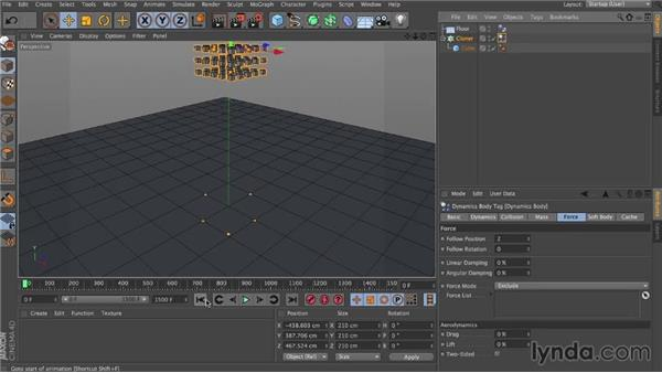 Follow Position and Follow Rotation: Dynamics in CINEMA 4D
