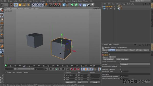 Keyframing a trigger: Dynamics in CINEMA 4D
