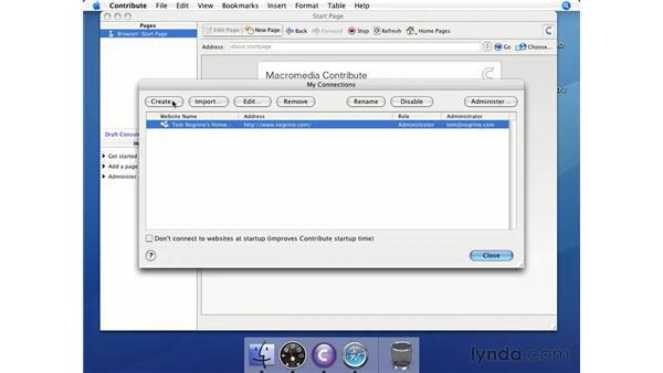 Making a connection to your .Mac account (Mac): Contribute 3 Essential Training