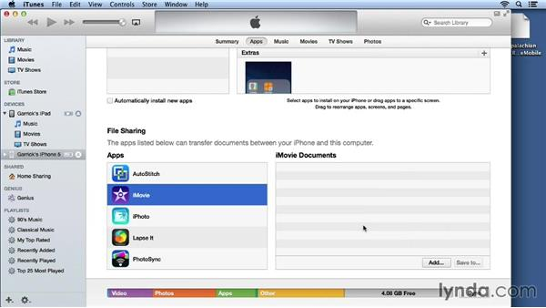 Transferring and backing up the project to iTunes: iMovie for iOS Essential Training