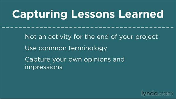 Capturing lessons learned: Business Analysis Fundamentals