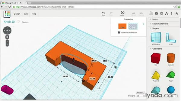 Adjust shapes with Ungroup: 3D Printing Project: Designing a Replacement Part