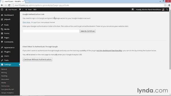 Connecting Google Analyticator to your Google Analytics account: WordPress Plugins: Analytics