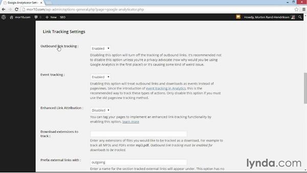 Configuring options: WordPress Plugins: Analytics (2014)