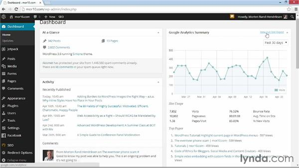 Viewing stats in your Dashboard: WordPress Plugins: Analytics (2014)
