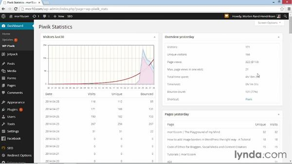 Viewing stats in your Dashboard: WordPress Plugins: Analytics