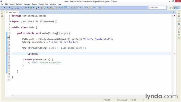 Searching text files with streams: Java SE 8 New Features