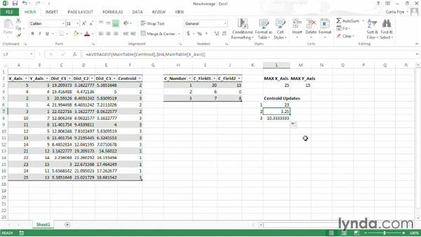 Updating centroids using averages: Up and Running with Excel Cluster Analysis