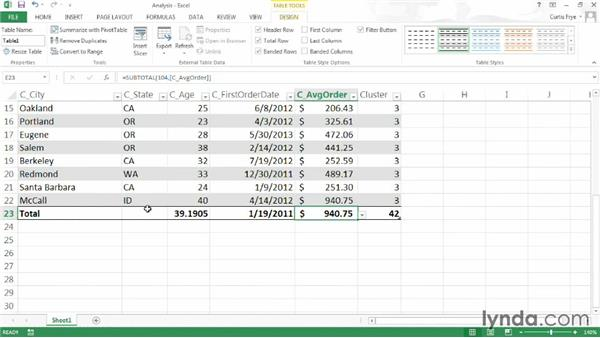 Analyzing data in your Excel table: Up and Running with Excel Cluster Analysis