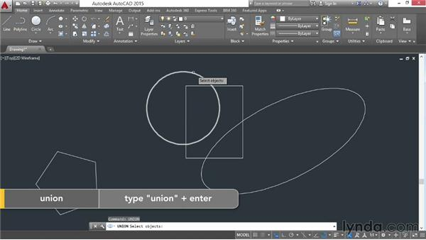 Performing Boolean operations on regions: AutoCAD 2015 Essential Training