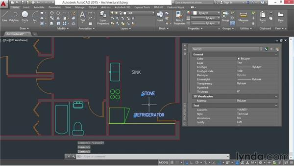 Aligning text objects: AutoCAD 2015 Essential Training
