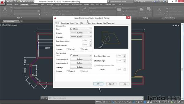 Creating dimension substyles: AutoCAD 2015 Essential Training